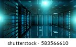 dark server room data center... | Shutterstock . vector #583566610