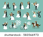 just married  newlyweds  bride... | Shutterstock .eps vector #583566973