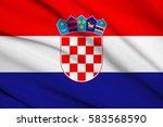 fabric texture flag of croatia | Shutterstock . vector #583568590