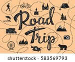 road trip poster with a... | Shutterstock .eps vector #583569793