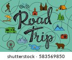 roadtrip poster with stylized... | Shutterstock .eps vector #583569850