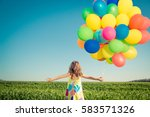 happy child playing with... | Shutterstock . vector #583571326