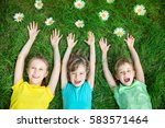 group of happy children playing ... | Shutterstock . vector #583571464