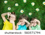 group of happy children playing ... | Shutterstock . vector #583571794