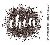 chia seeds. vector image.... | Shutterstock .eps vector #583573120