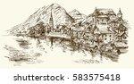 austria  rural village. hand...   Shutterstock .eps vector #583575418