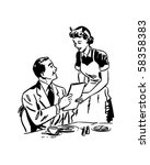 waitress handing out menu  ... | Shutterstock .eps vector #58358383