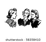 three gals chatting   retro... | Shutterstock .eps vector #58358410