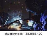 welder working at welding metal ... | Shutterstock . vector #583588420