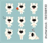 funny little polar bear set in... | Shutterstock .eps vector #583588930