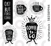 ok  but first coffee. coffee... | Shutterstock .eps vector #583589944