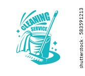 cleaning service logo with mop  ... | Shutterstock .eps vector #583591213