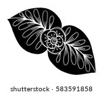 hand drawn doodle floral... | Shutterstock .eps vector #583591858