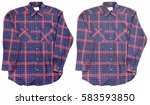 blue red cotton plaid shirt... | Shutterstock . vector #583593850
