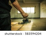 man beating up his wife... | Shutterstock . vector #583594204