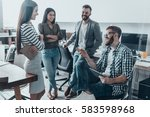 quick meeting. handsome young... | Shutterstock . vector #583598968