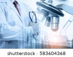 doctor with microscope  medical ... | Shutterstock . vector #583604368