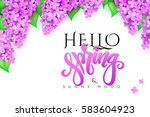 vector hello spring banner with ... | Shutterstock .eps vector #583604923