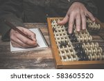 man's hand counting with old... | Shutterstock . vector #583605520