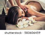young woman enjoying the... | Shutterstock . vector #583606459