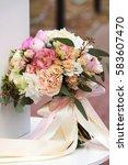elegant bouquet of peonies ... | Shutterstock . vector #583607470