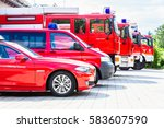 car pool with fire engines of... | Shutterstock . vector #583607590