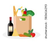 paper bag with fresh food....   Shutterstock .eps vector #583616293
