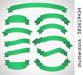green curved ribbon banners set ... | Shutterstock .eps vector #583619434