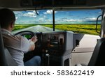 the truck driver on the road... | Shutterstock . vector #583622419