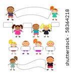 vector happy kids. | Shutterstock . vector #58364218