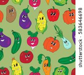 vector funny vegetables... | Shutterstock .eps vector #583646698