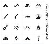 set of 16 editable camping... | Shutterstock .eps vector #583647790