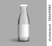 transparent glass bottle with... | Shutterstock .eps vector #583649884