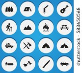 set of 16 editable travel icons....
