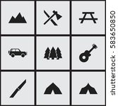 set of 9 editable trip icons.... | Shutterstock .eps vector #583650850