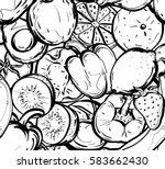 hand drawn pettern healthy food ... | Shutterstock .eps vector #583662430