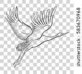 japanese crane isolated drawing.... | Shutterstock .eps vector #583670968