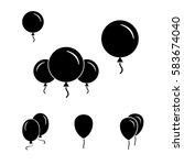 black simple party balloon... | Shutterstock .eps vector #583674040