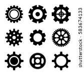 simple gear or cog wheel vector ... | Shutterstock .eps vector #583674133
