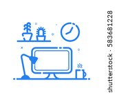 illustration of blue icon in... | Shutterstock . vector #583681228