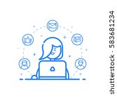 illustration of blue icon in... | Shutterstock . vector #583681234