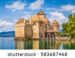 classic view of famous chateau... | Shutterstock . vector #583687468