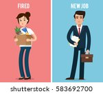 dismissed office worker with... | Shutterstock .eps vector #583692700