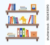 book shelves. flat style vector ... | Shutterstock .eps vector #583693090