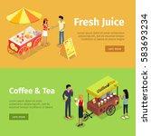 fresh juice and coffee  tea... | Shutterstock .eps vector #583693234
