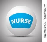 blue nurse icon on white sphere | Shutterstock .eps vector #583693279