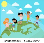 dancing and playing on planet... | Shutterstock .eps vector #583696090
