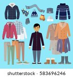 boy in warm clothes stands in... | Shutterstock .eps vector #583696246