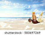 summer time and background of... | Shutterstock . vector #583697269