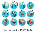 business icons with office... | Shutterstock .eps vector #583699654